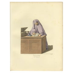 Antique Print of a Notary, Italy, 15th Century, by Bonnard, 1860