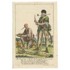 Antique Print of a Pandur and Croat Having a Meal by Engelbrecht 'c.1780'