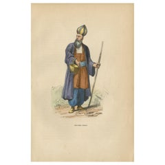 Antique Print of a Persian Dervish by Wahlen, 1843