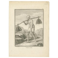 Antique Print of a Pilgrim Carrying Water from the Ganges by Poisson 'c.1790'