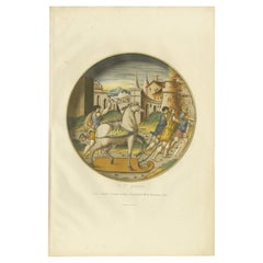 Antique Print of a Plate Decorated with the Trojan Horse by Delange '1869'