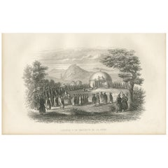 Antique Print of a Procession of the Chinese Emperor by D'urville (1853)
