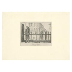 Antique Print of a Quaker Man and Woman Near the Library Company of Philadelphia