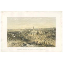 Antique Print of a Quarantine cemetery 'Crimean War' by W. Simpson, 1855