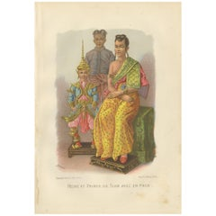 Antique Print of a Queen and Prince of Siam by Grégoire, 1883