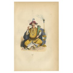 Antique Print of a Rajah by Wahlen '1843'