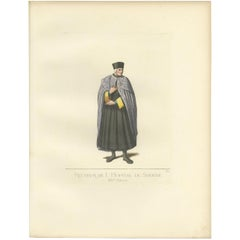 Antique Print of a Rector of the Hospital of Siena in Italy by Bonnard, '1860'