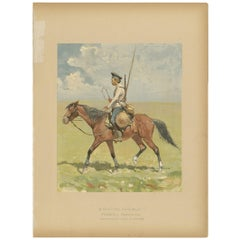 Antique Print of a Russian Cossack Made after F. Remington, circa 1893