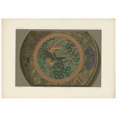 Antique Print of a Sara 'Japanese Dish II' by G. Audsley, 1884