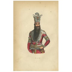 Antique Print of a Shah of Persia by Wahlen, 1843