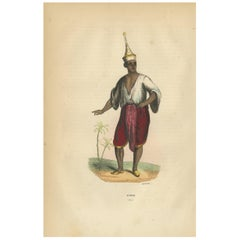 Antique Print of a Siamese Man by Wahlen '1843'