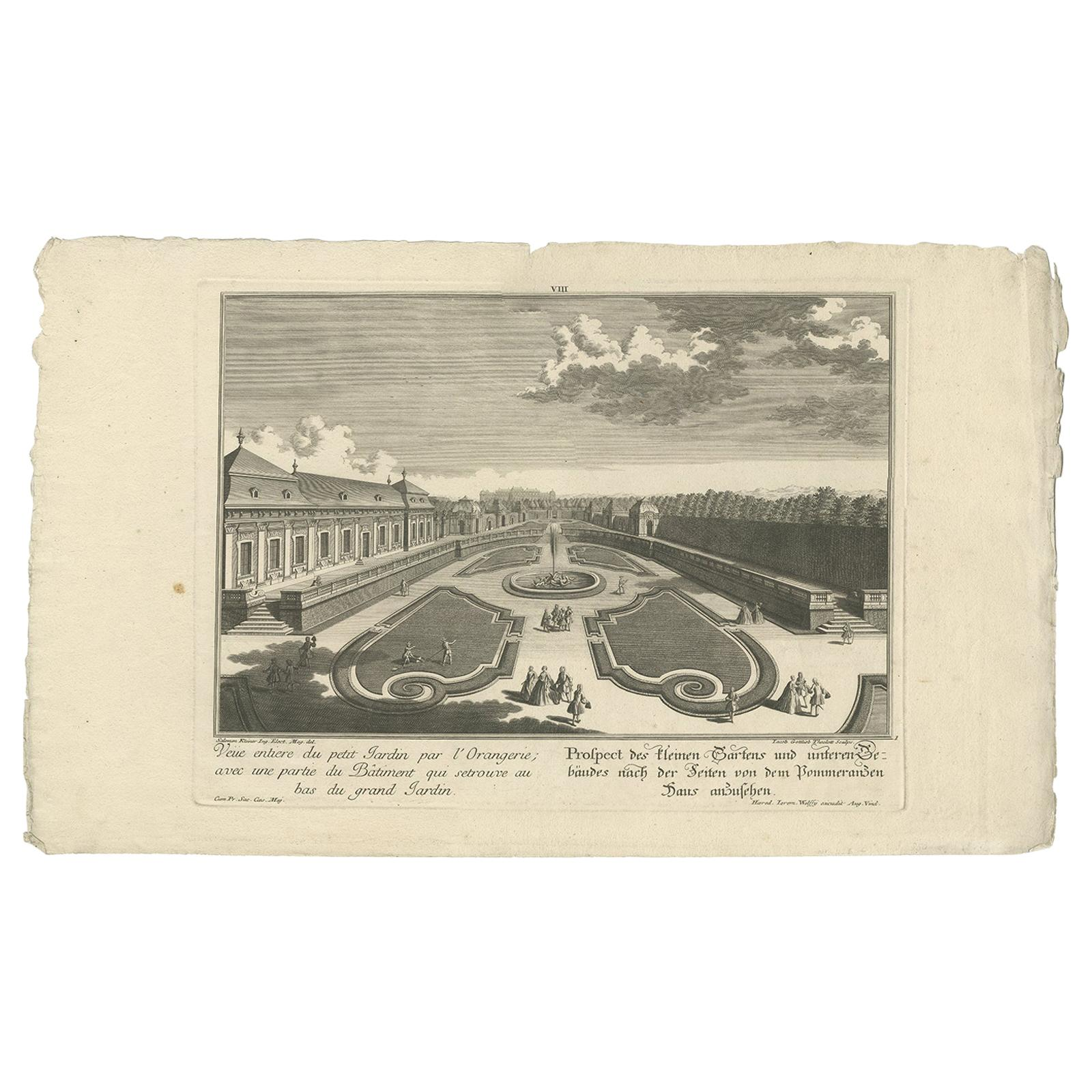 Antique Print of a Small Garden and Building by Wolff, 1737