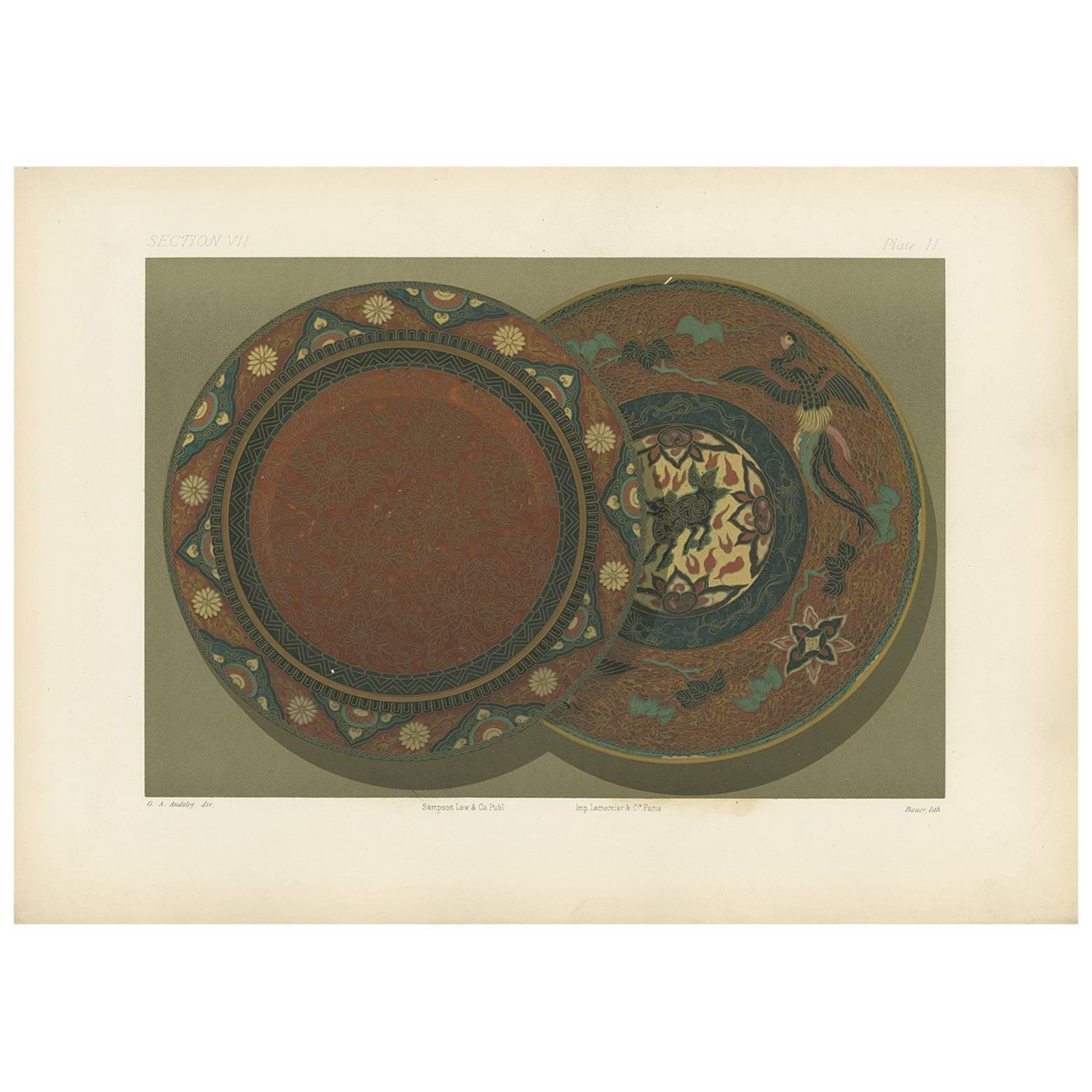 Antique Print of a small Japanese Dish by G. Audsley, 1884