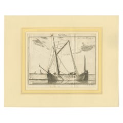 Antique Print of a Small Vessel by Pluche '1735'