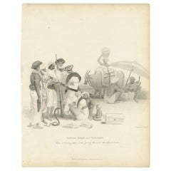 Antique Print of a Snake Charmer and Musicians by Wageman, 1812