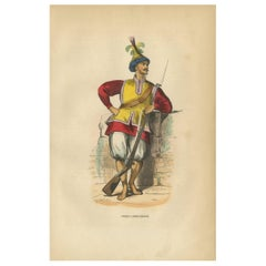 Antique Print of a Soldier of Cochinchina by Wahlen, 1843