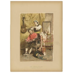 Antique Print of a Spanish Barber Made after C.S. Reinhart, circa 1893