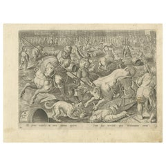 Antique Print of a Spanish Bullfight by A. Stradanus, 1576