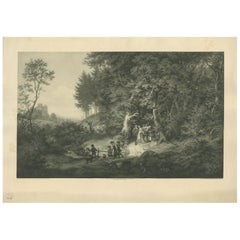 Antique Print of a Spring Landscape Made after Ludwig Richter 'circa 1900'