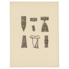 Antique Print of a Sword Belt with Decorations by Hefner-Alteneck '1890'