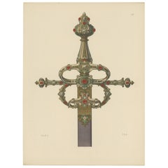 Antique Print of a Sword Decorated with Gold and Gems by Hefner-Alteneck, 1890