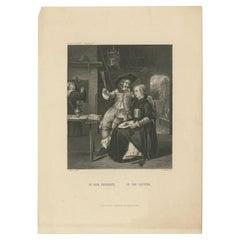 Antique Print of a Tavern Scene by Payne 'c.1850'
