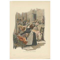 Antique Print of a Theater Dressing Room 'circa 1900'