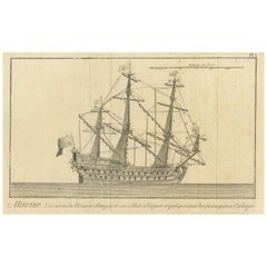Antique Print of a Three-Masted Man-of-War, circa 1770