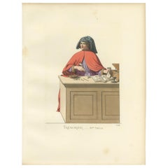 Antique Print of a Treasurer/Bookkeeper, 15th Century, by Bonnard, 1860