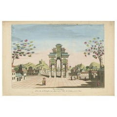 Antique Print of a Triumphal Arch in Guangzhou by Beauvais, circa 1700