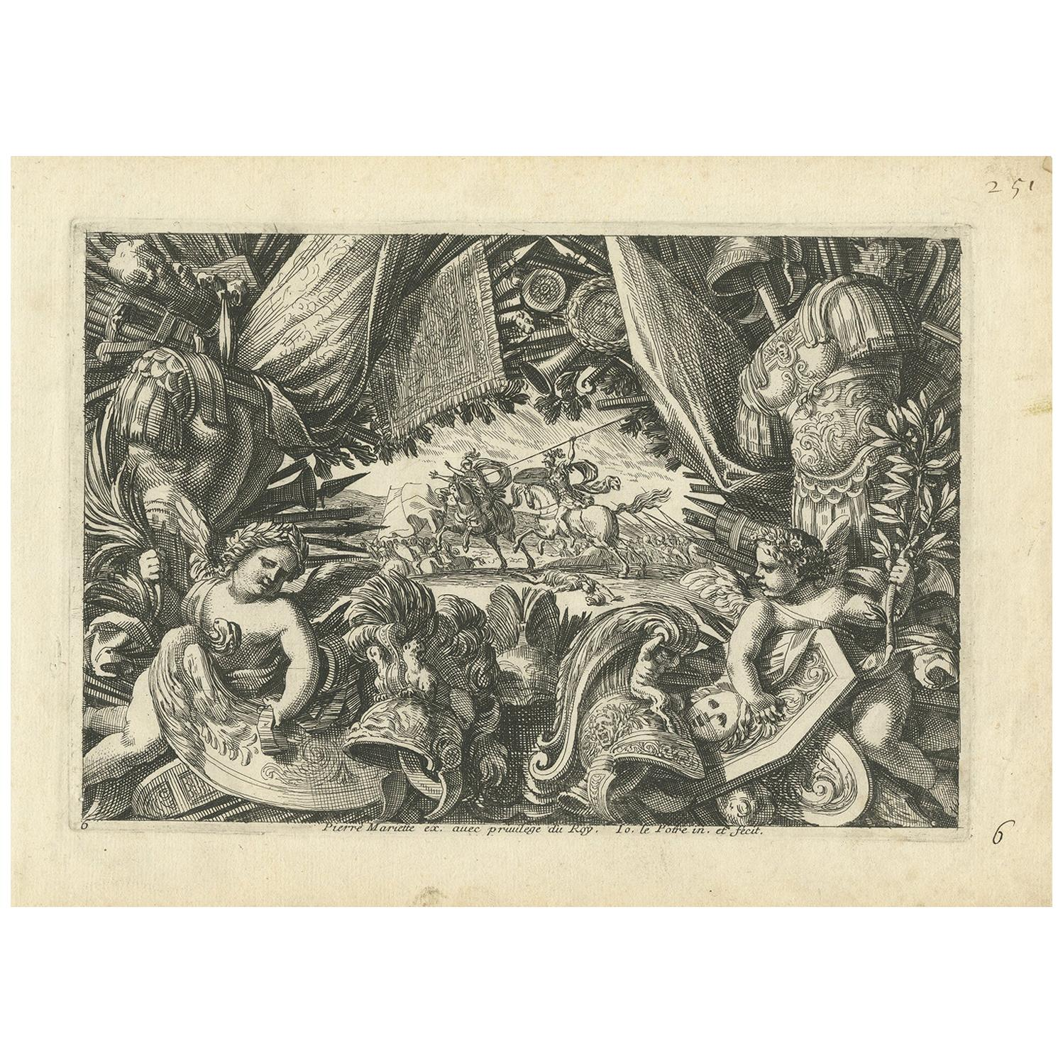 Antique Print of a Trophy of Arms by Lepautre, circa 1650