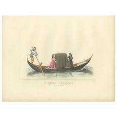 Antique Print of a Venetian Gondola, 14th Century, by Bonnard, 1860