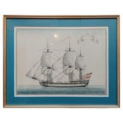 Antique Print of a Vessel 'c.1850'