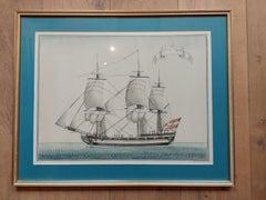 Antique Print of a Vessel (c.1850)