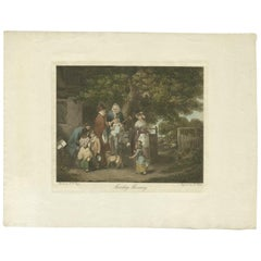 Antique Print of a Village Scenery Made after W.R. Bigg, circa 1800