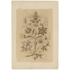 Antique Print of a Wallpaper Design with Leaves and Flowers, Claesen circa 1866