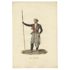 Antique Print of a Warrior from Java by Hurter, circa 1830