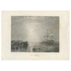 Antique Print of a Whaling Ship by Brandard, circa 1880