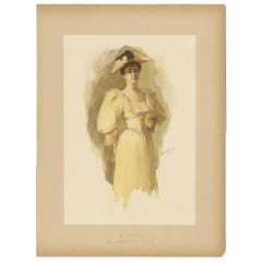 Antique Print of a Woman Made after W.L. Metcalf, circa 1893