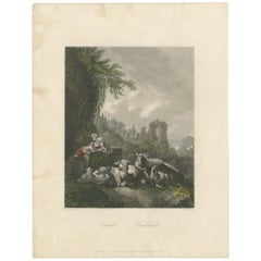 Antique Print of a Woman with a Dog and Cattle by Payne, 'c.1850'