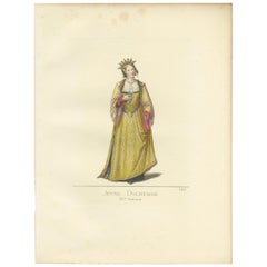 Antique Print of a Young Duchess, 15th Century, by Bonnard, 1860