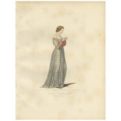 Antique Print of a Young French Woman, 14th Century, by Bonnard, 1860