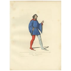 Antique Print of a Young Frenchman, 14th Century, by Bonnard, 1860