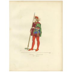 Antique Print of a Young Venetian, 15th Century, by Bonnard, 1860