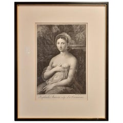 Antique Print of a Young Woman, Known as La Fornarina, Published '1772'