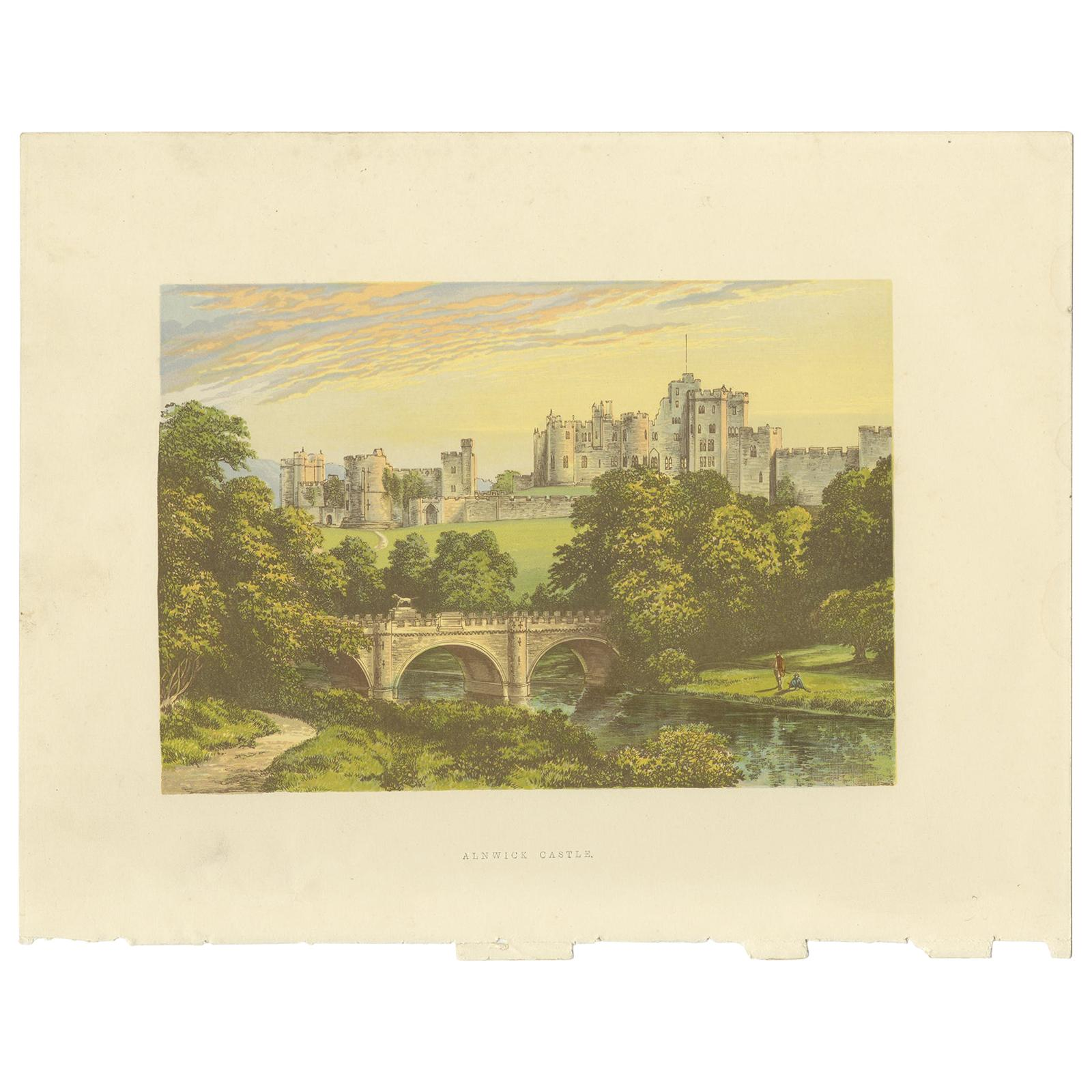 Antique Print of Alnwick Castle by Morris (c.1880)