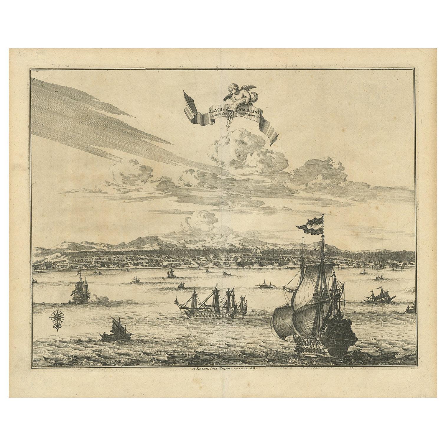 Antique Print of Amboina by Van der Aa, circa 1725