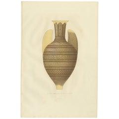 Antique Print of an Arab Vase by Delange '1869'