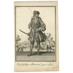 Antique Print of an English Admiral by Weigel, '1703'