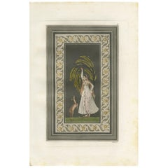 Antique Print of an Indian Girl by Ferrario '1831'